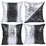 JOTOM Black and White Pillow Case Cover Sofa Car Cushion Covers Home Bed Decor 45 x 45cm, Set of 4 (Black and White Porcelain)