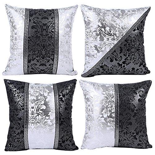 JOTOM Nero Bianco Federa per Cuscino Divano Cuscino per Auto Home Bed Decor 45 x 45 cm, Set di 4 (Porcellana in Bianco e Nero)