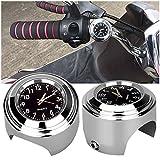 CARGOOL Waterproof Motorcycle Clock Luminous Motorbike Handlebar Clock, Easy to Install, Silver