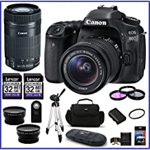 Canon EOS 80D DSLR Camera With 18-55mm Lens + Canon EF-S 55-250mm F/4-5.6 Is STM Lens + 32GB Memory Cards (2X) + 58mm Telephoto & Wide Angle Lenses + Spare Battery And More