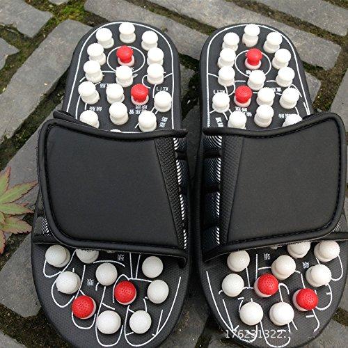 GXX Drehende Punktdorn-Massagekissen acupoint Pediküre-Gesundheitsmassage beschuht Sommersandalen und Pantoffel,schwarz,36