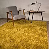 (Ochre Yellow, 80cm x 150cm (2ft7' x 4ft11')) - Thick Modern Small Medium Soft Anti Shed Luxury Vibrant Shaggy Rugs - 12 Colours & 5 Sizes Available (Ochre Yellow 80x150cm)