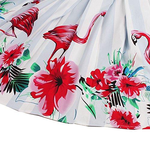 FeelinGirl Damen Elegant Faltenrock A-linie Rockabilly Röcke Chiffonrock mit Blumenmuster Knielang Flamingo