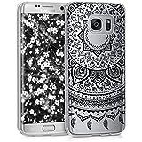 kwmobile Étui transparent en TPU silicone pour Samsung Galaxy S7 edge en noir transparent Design soleil indien