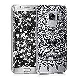 kwmobile Crystal Case Hülle für Samsung Galaxy S7 edge aus TPU Silikon mit Indische Sonne Design - Schutzhülle Cover klar in Schwarz Transparent