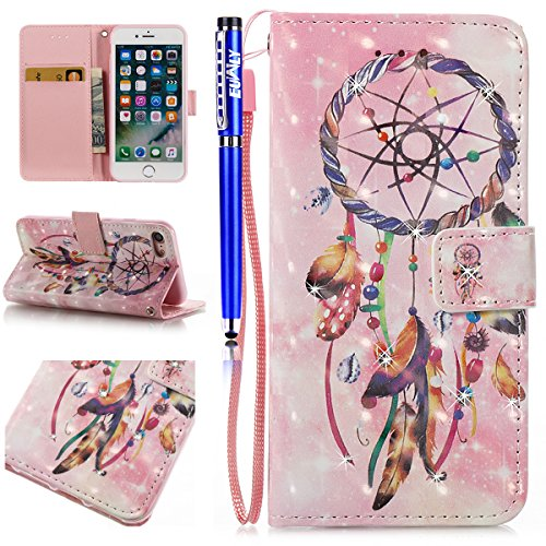 EUWLY Protettiva Portafoglio Custodia in Premium PU Pelle per iPhone 7/iPhone 8 (4.7), 3D Dipinto Pattern Disegno PU Leather Wallet Custodia Bling Brillante Diamante Sparkling Strass Glitter Shell Co Rosa Campanula