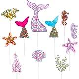 Sirena Cupcake Toppers Lindo Océano Animales en Forma de Pastel Toppers Glitter Torta de Sirena Decoración para Fiesta en el