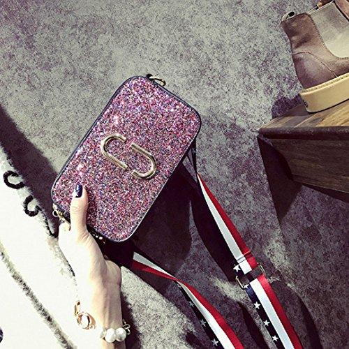 AiSi Damen amerikanische glitzer mini elegante Umhängetasche/ Ledertasche/ Clutch/ Abendtasche/ Schultertasche/ Party Bags mit Schulterriemen amerikanische Flagge pink silber Pink