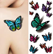 3D Butterfly Tattoo Decals, Body Art Decal Flying Butterfly Waterproof Paper Temporary Tattoo by Leoie