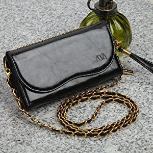 Genuine Leather Black Wallet Phone Case with Shoulder Strap and Wrist Strap fits CoolPad Canvas