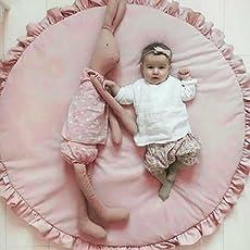 Baby Play Mat, neonato pizzo colore solido Creeping, tappetino tondo unico Game Room decorazione per casa, camera da letto (rosa, bianco)