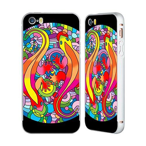 Ufficiale Howie Green Strisce Cuore Cerchio Argento Cover Contorno con Bumper in Alluminio per Apple iPhone 6 Plus / 6s Plus Salamandre