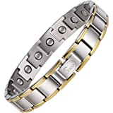 Jeroot Bracelet Magnetique,Bracelets Magnétiques Titane Magnetique Bracelet Homme Lien libre +Suppression