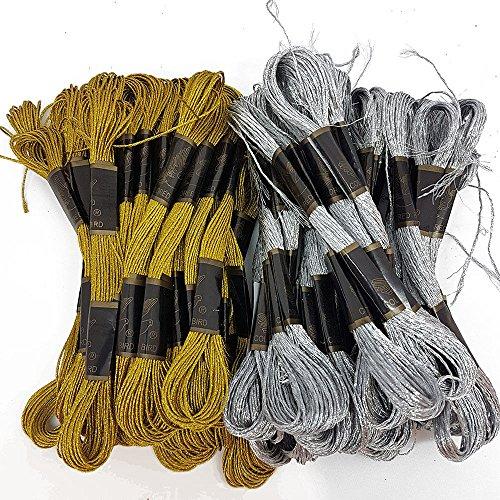 1 mm dickes Stickgarn in metallischen Glitzerfarben von Accessories Attic® Gold 12pc