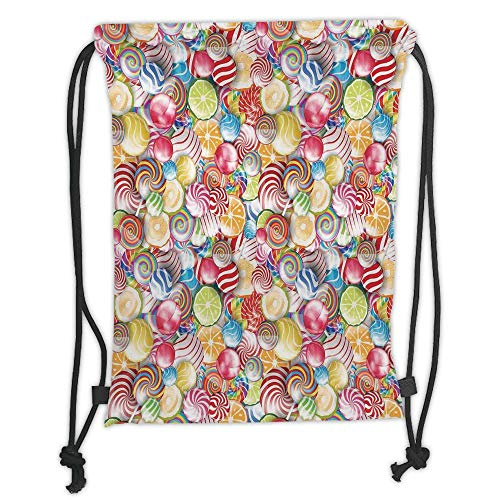 Trsdshorts Drawstring Backpacks Bags,Colorful Home Decor,Spiral Sugar Candy Sweets Lolly Pops Dessert Fun Girls Kids Nursery Theme,Multi Soft Satin,5 Liter Capacity,Adjustable String Closure,