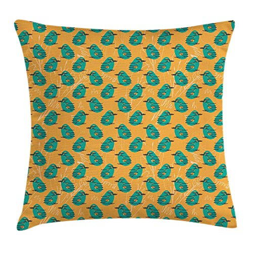 ow Pillow Cushion Cover, Rough Sketch Shapes Random Scribbled Lines on Orange Backdrop, Decorative Square Accent Pillow Case, 18 X 18 Inches, Orange Turquoise Black ()