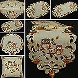 Quinnyshop Eulen Tischdeckchen Tischläufer Decke Kissenhülle Leinen-Optik Creme Beige Herbst Blatt Stickerei - Größe wählbar (ca. 20 cm Rund)