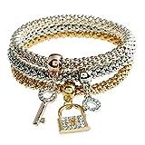 Best Trois clés Bijoux Bracelets Charm - Lureme Bloquer Clé Charme Bracelet en trois couleurs Review