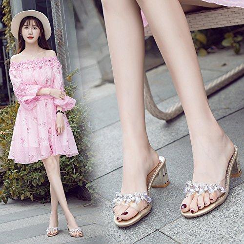 ZYUSHIZ Hausschuhe Sandalen Strand Outdoor der minimalistischen Stil koreanische Version synthetischer Diamant Gold
