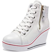 Sneakers Zeppa Donna 35-43 EU Scarpe da Ginnastica Basse Sportive Fitness Tacco Zeppa Scarpe con Zeppa Interna Donna…