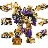 AOTE-D Verwandlung Spielzeugauto Kind Kombination 6-Teiliger Gabelstapler Bagger Kran Baufahrzeug Spielzeugautos Spielzeugauto Baufahrzeug LKWs Push