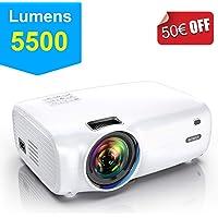 Vidéoprojecteur, WiMiUS 5500 Lumens Vidéo Projecteur Portable Full HD Soutien 1080P Rétroprojecteur 720P Native Mini Projecteur LED 60000 Heures HDMI/VGA/AV/TF/USB pour Home Cinéma ou Plein air