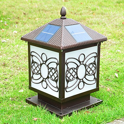 GLCJW Solar-Gartenleuchte,Villa solar Säule Lampe,Outdoor-Leuchten,Gartenmauer Leuchten,Wand Lampen,Lampe,Gate home outdoor wasserdicht (Solar Gate-leuchten)