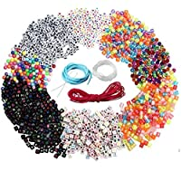 nuoshen Letter Beads,1300 Pieces Acrylic Alphabet Letter Beads Cube Beads Round Crystal Beads with 3 Elastic String Cord and 1 Piece Beading Needles For DIY