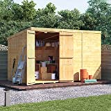 BillyOh 10x6 Tongue and Groove Wooden Shed Windowless Double Door Pent Roof & Felt Garden Sheds 10FT 6FT