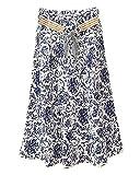 Damen Sommer Lang Midi Rock Strandrock Elegant Röcke Freizeitrock Mit Floral Bedruckt Weiße Marine