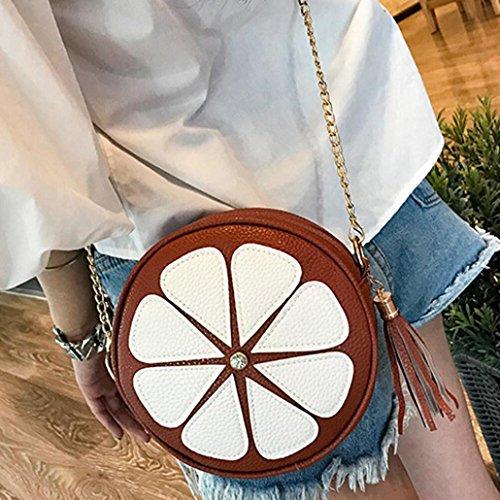 BZLine® Frauen Leder Kette Handtasche Crossbody Schulter Messenger Tasche Braun