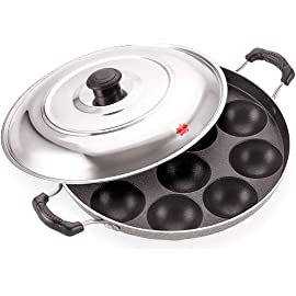 BMS Lifestyle 12 Cavity Non Stick Aliminium Appam Patra,paniyarakal with 2 Side Handle and Stainless Steel lid, Color…