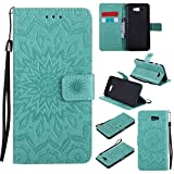 For Samsung Galaxy J7 Prime Case [Green],Cozy Hut [Wallet Case] Magnetic Flip Book Style Cover Case ,High Quality Classic New design Sunflower Pattern Design Premium PU Leather Folding Wallet Case With [Lanyard Strap] and [Credit Card Slots] Stand Function Folio Protective Holder Perfect Fit For Samsung Galaxy J7 Prime SM-G610F 5,5 inch - green