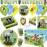 Der Kleine Maulwurf Krtek Little Mole Partyset mit Deko 61tlg. für 8 Kinder Teller Becher Servietten Tischdecke Tüten Einladung Ballons Partykette Ballonlaterne