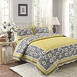 Unimall Tagesdecke Bett Überwurf Baumwolle 230 x 250 cm mit Landhaus Blumen Muster