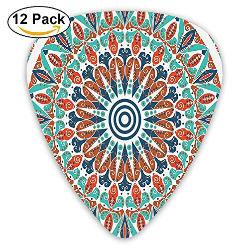 Floral Geometry Complex Design Medallion Middle Ages Symbolic Tribal Guitar Picks 12/Pack Set -