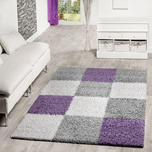 ppich Karo Muster Shaggy Zottel Teppiche Lila Grau Creme, Größe:120x170 cm ()