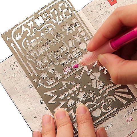 Dessin règle de peinture pochoirs portable en acier inoxydable de