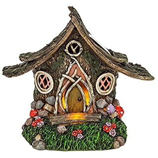 Solar Powered beleuchtet Fairy Woodland Cottage/Dwelling Garten Ornament