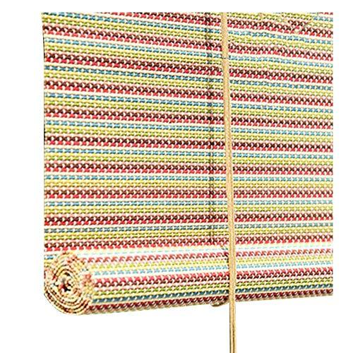 Shading Bambus-Bildschirm, Rollos Bambus-Jalousien Indoor-Veranda Partition Restaurant Hängende Ornamente Sonnenschutz Römischen Vorhang, Mehrere Größen Erhältlich, MTX Ltd, Mehrfarbig, 120X180cm