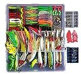 Kit de señuelos de pesca, 273 piezas/set de caja de aparejos de crankbaits Spinnerbaits de plástico mormas de Minnow Popper lápiz de metal duro señuelos de pesca suave Jigs anzuelos de pesca + 2 señuelos de rana regalos
