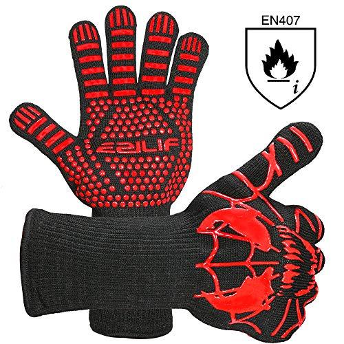EZILIF Grillhandschuhe Hitzebeständig bis zu 800℃ / 1472℉ Ofenhandschuhe EN 407 Zertifizierte BBQ Handschuhe mit Silikon Rutschfeste Kaminhandschuhe für Grill, Kochen,...