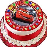 """Vorgeschnittener Kuchenaufleger, Motiv """"Cars Lightening Mcqueen"""", mit der Aufschrift """"Happy Birthday"""", essbarer Zuckerguss"""