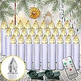 HENGMEI 30er Warmweiß Weihnachtskerzen Christbaumkerzen Christbaumbeleuchtung Flammenlose mit Fernbedienung Weihnachtsbeleuchtung für Weihnachtsbaum, Hochzeit, Partys