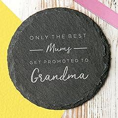 Idea Regalo - Solo i migliori Mums Get Promoted to Grandma ardesia sottobicchiere–Gift for Grandma–nonna sottobicchiere per festa della mamma