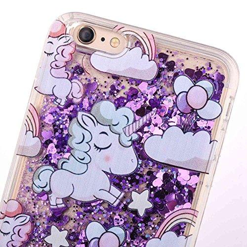 iPhone 7case, iPhone 7glitter case, Toyym 3D Funny Floating [Bling] [Liquid] custodia con Sparkle Love Stars Quicksand in, cartoon Unicorn pattern design, glitter Shinny lusso hard shell con bumper  Unicorn#1