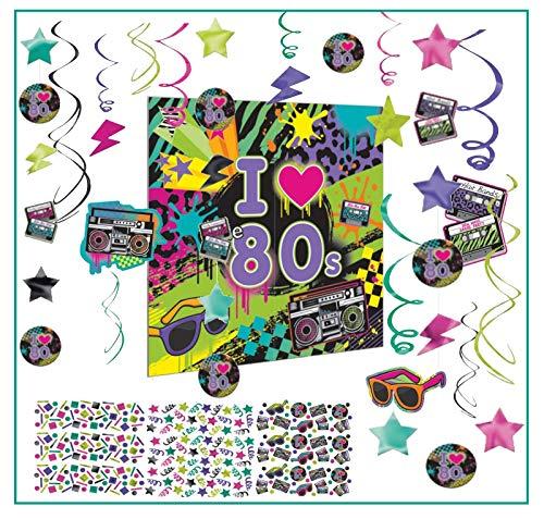 Libetui Disko Party Deko-Set Totally 80's Feier Disco Diskoparty Mottoparty Dekogirlande Konfetti Deckenhänger 80er Jahre