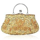 Damen Handgemachte Perle Handtasche, Abendtasche Damen Clutch Für Party, Hochzeit (Gold)