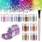 Glitter Cosmetici, Chunky Festival Glitter con Hexagons Glitter Paillette per Capelli Decorativi, Unghie, Guance