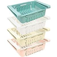 joeji's Kitchen Lot Boite de Rangement frigo (x 4) / Rangement Cuisine & frigo rétractable en 4 Couleurs (Bleu, Blanc…